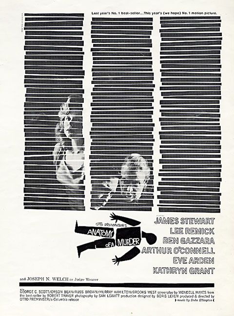 Saul Bass Anatomy of a murder (1959) Newspaper ad 501. 680 lines