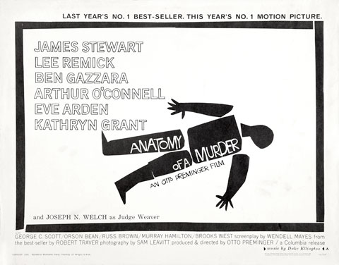 Saul Bass Anatomy of a murder (1959) half sheet movie poster