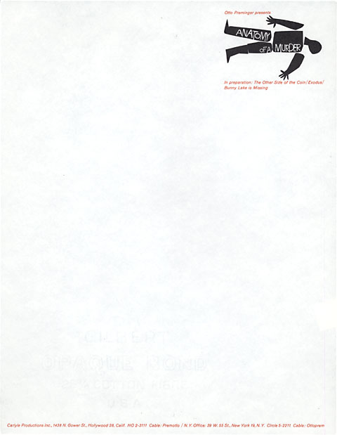 Saul Bass Anatomy of a murder (1959) Letterhead