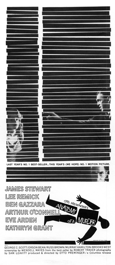 Saul Bass Anatomy of a murder (1959) newspaper ad