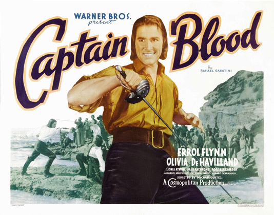 Warner Bros. Captain Blood 1935 half sheet poster