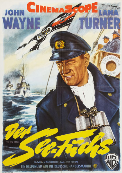 The sea chase 1955 German movie poster