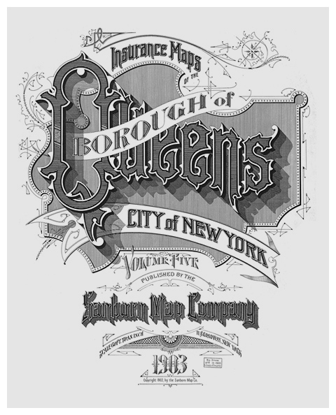 Sanborn Fire insurance map Borough of Queens 1903 typography