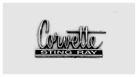 Chevrolet Corvette Sting Ray 1965 chrome script badge