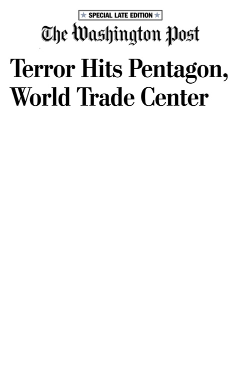 Newspaper headline The Washington Post 9/11 2001