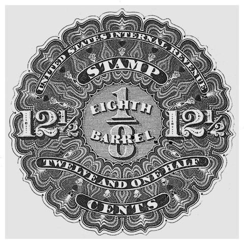 Revenue beer stamp, issued in 1866