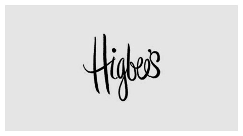 Higbees's handlettered logo