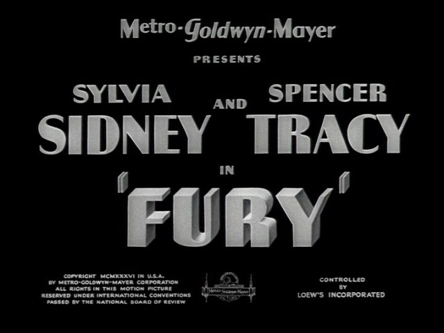 Fury 1936 movie title screen shot