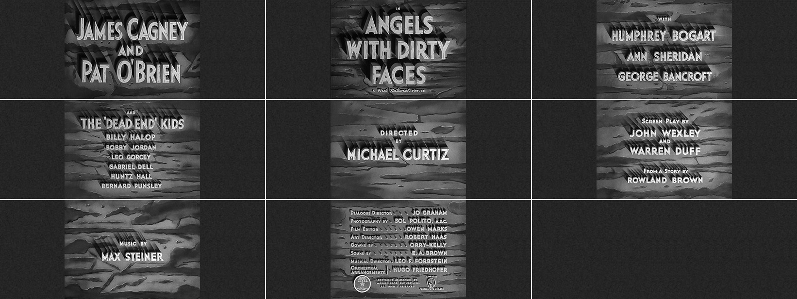 Michael Curtiz: Angels with dirty faces (1938) title sequence
