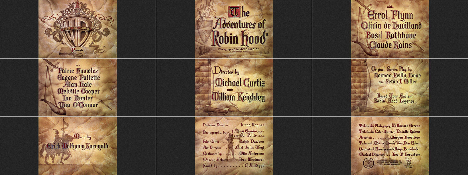 Michael Curtiz: The Adventures of Robin Hood (1938) title sequence