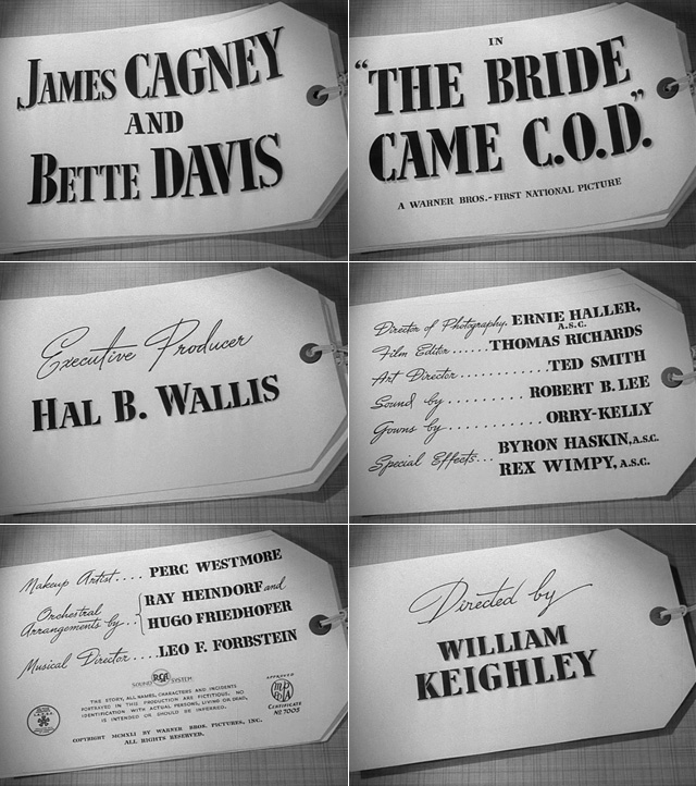 The Bride Came C.O.D. title sequence