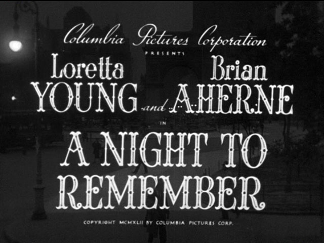 A night to remember 1942 movie title