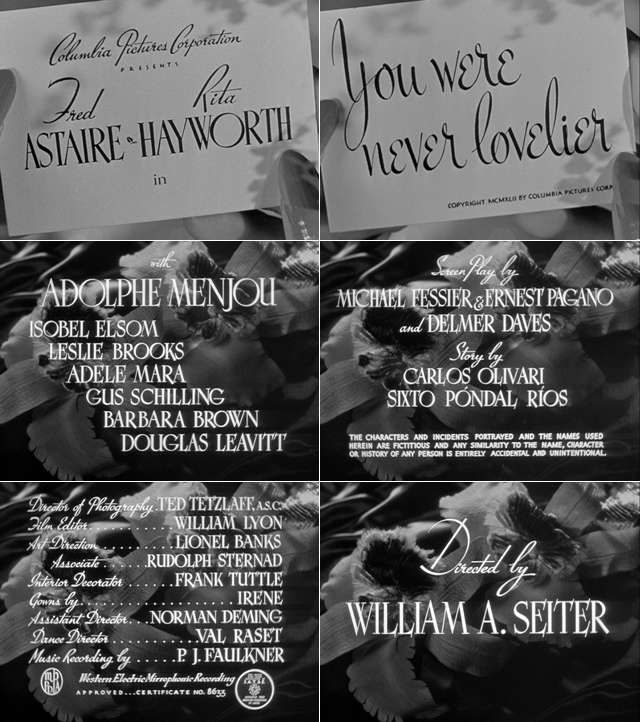 You Were Never Lovelier (1942) title sequence