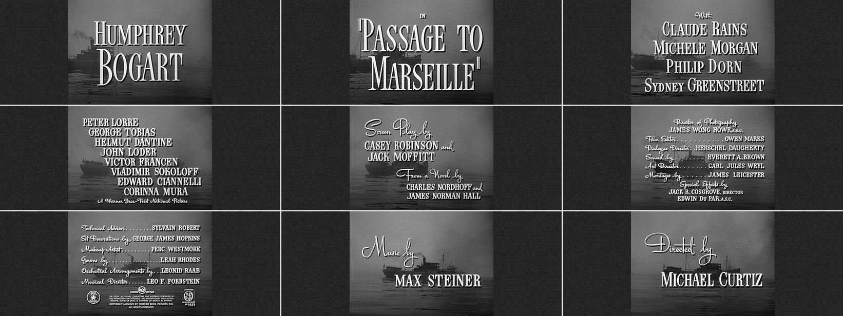 Michael Curtiz: Passage to Marseille (1944) title sequence