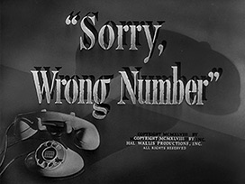 Sorry, wrong number (1948) Barbara Stanwyck - blu-ray movie title