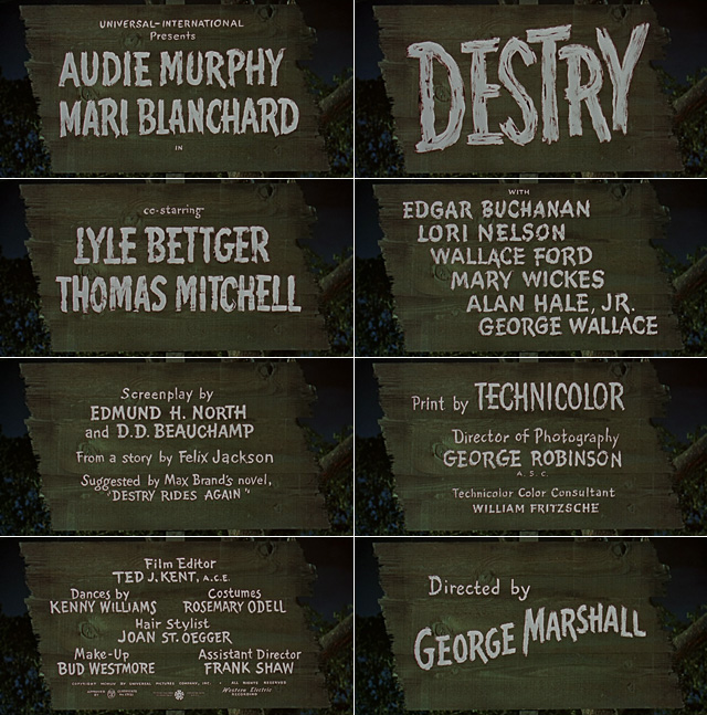 Destry (1954) western opening credits