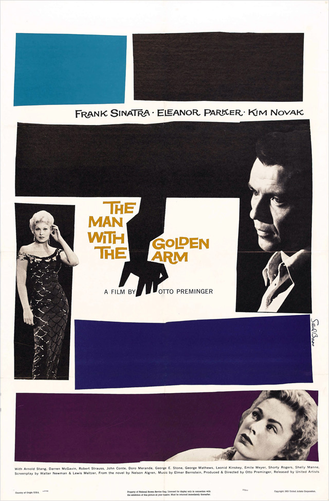 Saul Bass The Man with the Golden Arm 1955 movie poster 黄金の腕 ポスター