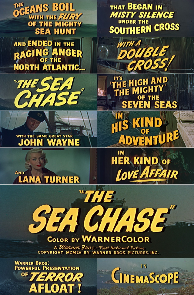 The Sea Chase (1955) trailer titles