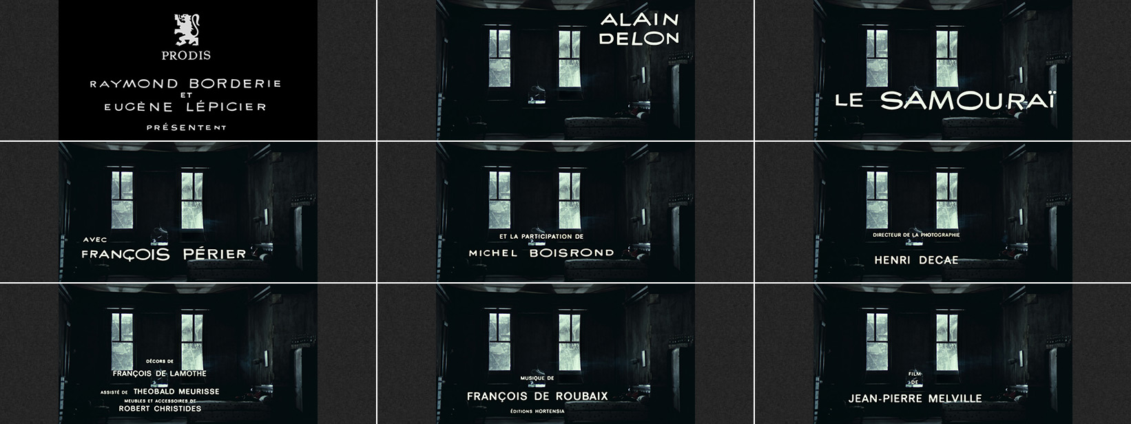 Le samouraï (1967) Jean-Pierre Melville - title sequence
