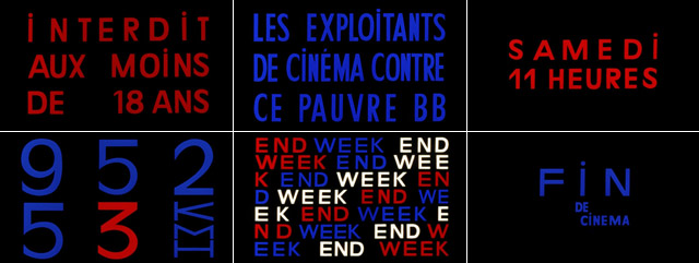 Week end (1967) Jean-Luc Godard - typography