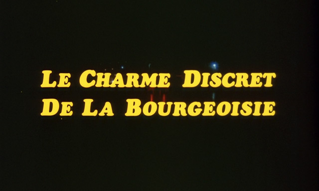 The discreet charm of the bourgeoisie (1972) movie title