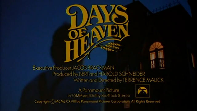 Days of heaven 1978 trailer title